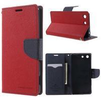 Goos PU kožené peňaženkové puzdro pre Sony Xperia M5 - červené