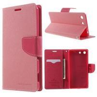 Goos PU kožené peňaženkové puzdro pre Sony Xperia M5 - ružové