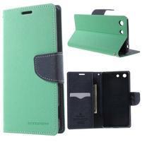 Goos PU kožené peňaženkové puzdro pre Sony Xperia M5 - cyan