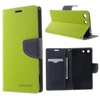Goos PU kožené peňaženkové puzdro pre Sony Xperia M5 - zelené