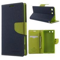 Goos PU kožené peňaženkové puzdro pre Sony Xperia M5 - tmavomodré