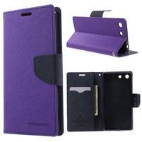 Goos PU kožené peňaženkové puzdro pre Sony Xperia M5 - fialové