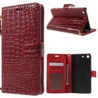 Croco Peňaženkové puzdro pre mobil Sony Xperia M5 - červené