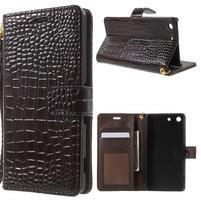 Croco Peňaženkové puzdro pre mobil Sony Xperia M5 - coffee