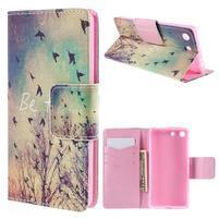 Crafty Peňaženkové puzdro pre Sony Xperia M5 - vtáčiky
