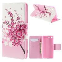 Crafty Peňaženkové puzdro pre Sony Xperia M5 - kvitnúce vetvička