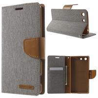 Canvas PU kožené / textilní pouzdro na Sony Xperia M5 - šedé