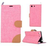 Jeans peňaženkové puzdro pre mobil Sony Xperia M5 - ružové