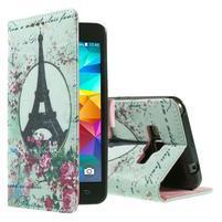 Wallet PU kožené puzdro pre mobil Samsung Galaxy Grand Prime - Eiffelka