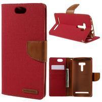 Canvas PU kožené/textilní puzdro na Asus Zenfone Selfie ZD551KL - červené