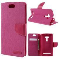 Canvas PU kožené/textilné puzdro pre Asus Zenfone Selfie ZD551KL - rose