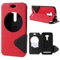 Peňaženkové puzdro s okienkom pre Asus Zenfone Selfie ZD551KL - červené
