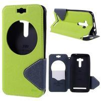 Peňaženkové puzdro s okienkom pre Asus Zenfone Selfie ZD551KL - zelené