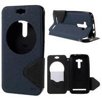Peňaženkové puzdro s okýnkem na Asus Zenfone Selfie ZD551KL - tmavo modré