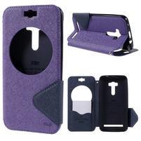 Peňaženkové puzdro s okýnkem na Asus Zenfone Selfie ZD551KL - fialové