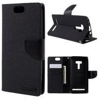 Canvas PU kožené/textilní puzdro na Asus Zenfone Selfie ZD551KL - čierné