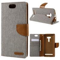 Canvas PU kožené/textilní puzdro na Asus Zenfone Selfie ZD551KL - šedé