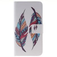 Peněženkové pouzdro pro mobil Honor 5X - barevná peříčka