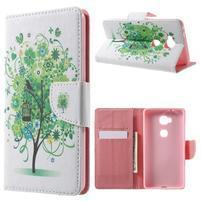 Emotive PU kožené puzdro pre mobil Honor 5X - zelený strom