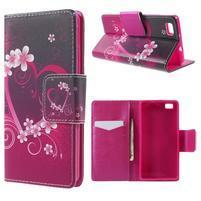 Peňaženkové PU kožené puzdro na Huawei Ascend P8 Lite - srdce