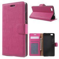 Clothy PU kožené pouzdro na mobil Huawei P8 Lite - rose