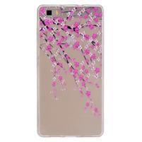 Průhledný gelový obal na Huawei P8 Lite - kvetoucí třešeň