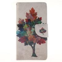 Leathy PU kožené puzdro na Huawei P8 Lite - farebný strom