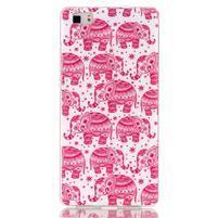 Softy gelový obal na mobil Huawei P8 Lite - růžoví sloni