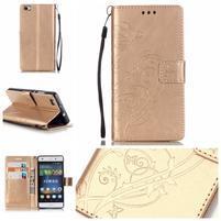 Magicfly PU kožené puzdro na Huawei P8 Lite - zlaté