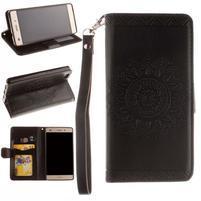 Mandala PU kožené puzdro na mobil Huawei P8 Lite - čierne