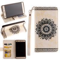 Mandala PU kožené puzdro na mobil Huawei P8 Lite - béžové
