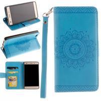 Mandala PU kožené puzdro na mobil Huawei P8 Lite - modré