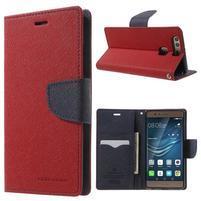 Diary PU kožené pouzdro na mobil Huawei P9 - červené