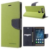 Diary PU kožené pouzdro na mobil Huawei P9 - zelené