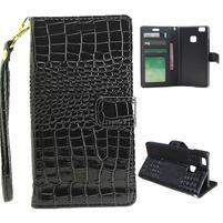 Croco peněženkové pouzdro na mobil Huawei P9 Lite - černé