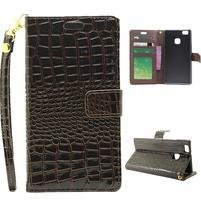 Croco peňaženkové puzdro na mobil Huawei P9 Lite - hnedé