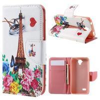 Emotive PU kožené puzdro na Huawei Y5 - kvetiny a Eiffelova veža