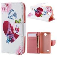 Emotive PU kožené puzdro na Huawei Y5 - srdce Eiffelky