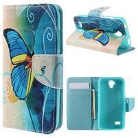 Emotive PU kožené puzdro na Huawei Y5 - modrý motýľ