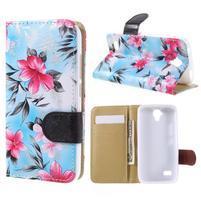 Kvetinové puzdro na Huawei Y5 a Y560 - modré pozadie