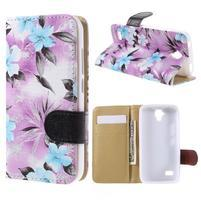 Kvetinové puzdro na Huawei Y5 a Y560 - fialové pozadie