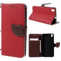 Leaf PU kožené puzdro na mobil Huawei Y6 - červené