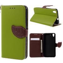 Leaf PU kožené puzdro na mobil Huawei Y6 - zelené