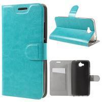Horse PU kožené peňažekové puzdro na Huawei Y6 Pro - modré