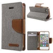 Canvas PU kožené/textilné puzdro pre iPhone 4 - sivé