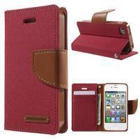Canvas PU kožené/textilní pouzdro na iPhone 4 - červené