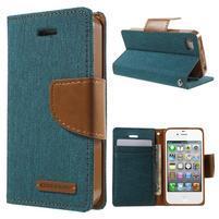 Canvas PU kožené/textilné puzdro pre iPhone 4 - zelenomodré