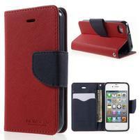 Fancys PU kožené puzdro pre iPhone 4 - červené