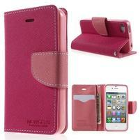 Fancys PU kožené puzdro pre iPhone 4 - rose