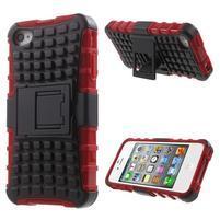 Outdoor odolný obal pre mobil iPhone 4 - červený